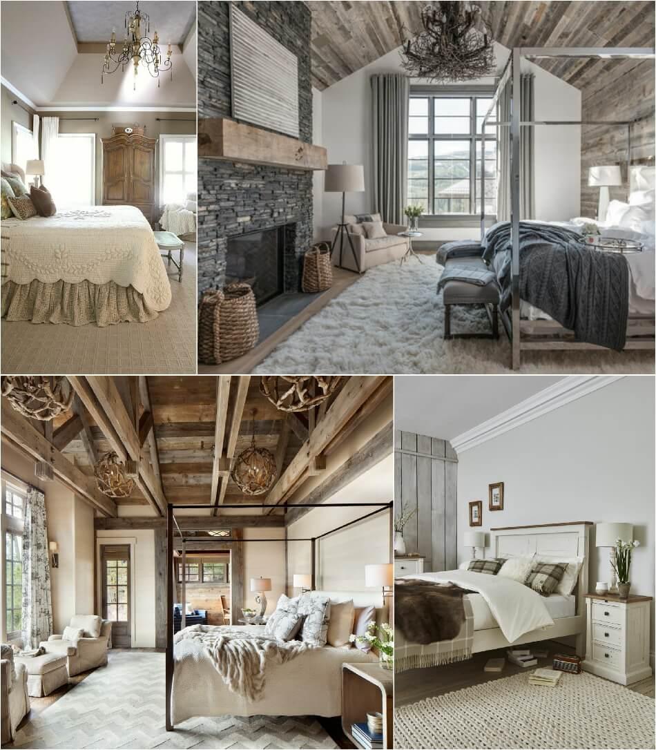 Современная спальня в стиле кантри